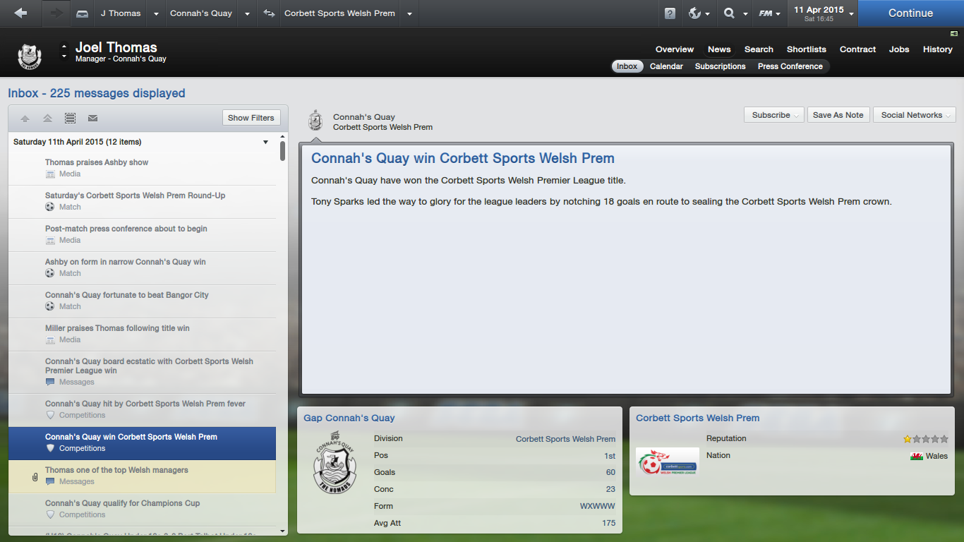 re: Gap Connah's Quay Challenge - Page 2 - Football Manager